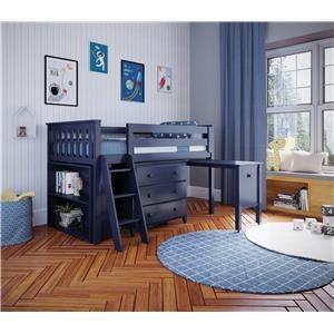 Windsor 2 Low Loft Bed in Blue w/Angle Ladder w/3 Drawer Dresser/Bookcase/Pull Out Desk