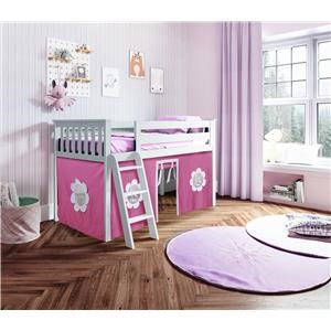 York 1 Low Loft Bed in White w/Angle Ladder w/Curtain in Hot Pink/White