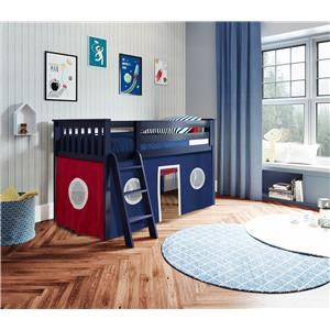 York 2 Low Loft Bed in Blue w/Angle Ladder w/Curtain in Blue/Red/White
