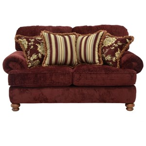 Traditional Styled Loveseat with Decorative Rolled Arms