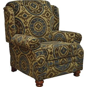 Traditional High Leg Recliner with Turned Wood Feet