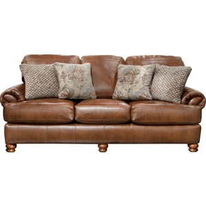 Stationary Sofa With Rolled Arm