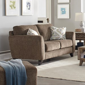 Contemporary Loveseat with Exposed Wood Feet