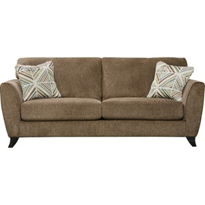 Contemporary Sofa with Exposed Wood Feet