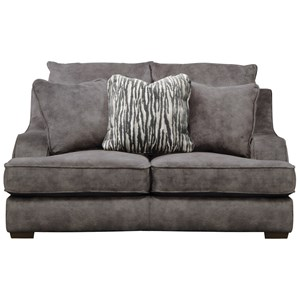 Casual Loveseat with Ski-Slope Arms