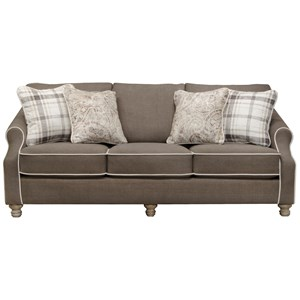 Transitional Sofa with Accent Welt Trim