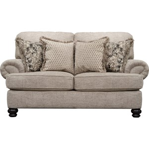 Transitional Loveseat with Solid Wood Legs