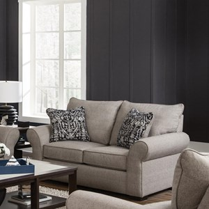 Transitional Loveseat with Sock Arms