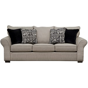 Transitional Queen Sleeper Sofa with Sock Arms
