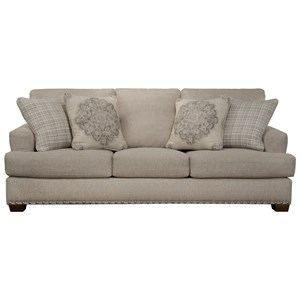 Upholstered Sofa with Nailhead Trim