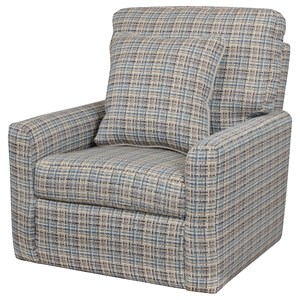 Upholstered Swivel Chair with Nailhead Trim
