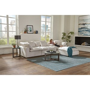 Contemporary Chaise Sofa with Storage Console