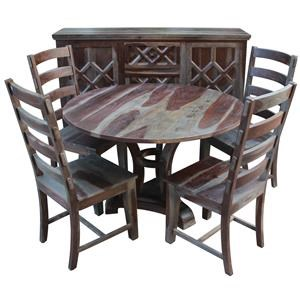 5 Piece Round Dining Table and 4 Side Chairs Set