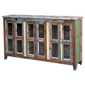 Jaipur Furniture Sawan Vintage Glass Paneled 6 Door