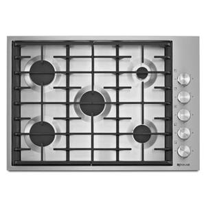 "30"" Low-Profile Design 5-Burner Gas Cooktop with 18,000 BTU Brass PowerBurner"