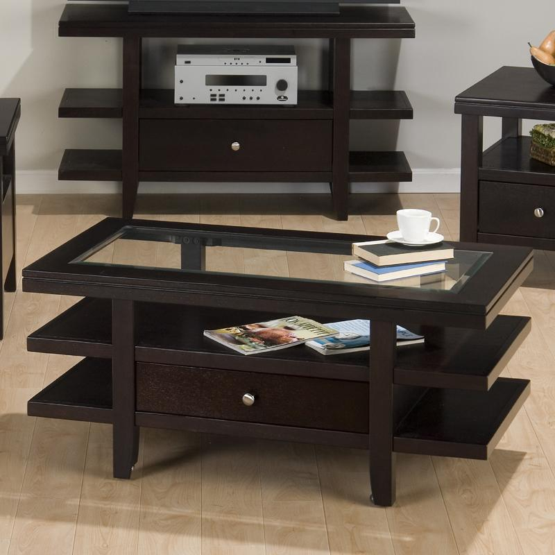 Marlon Wenge Cocktail Table w/ 3 Tier Shelves by Jofran at Pilgrim Furniture City