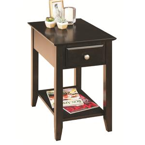 Casual Espresso Chairside End Table with Drawer & Shelf