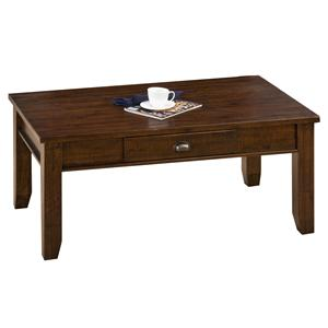 Casual One Drawer Coffee Table with Tapered Block Legs