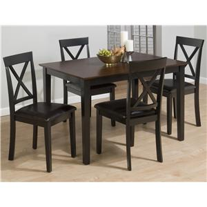 Jofran Burley Brown and Black 5 Piece Table & Chairs Set