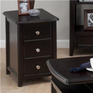 Casual Espresso Chairside Table with 2 Drawers