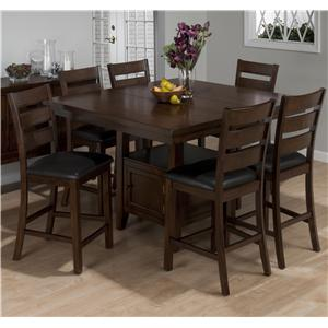 Jofran Taylor Brown Cherry 7 Piece Counter Height Dining Set
