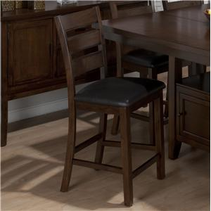 Triple Slat Counter Height Stool with Faux Leather Seat