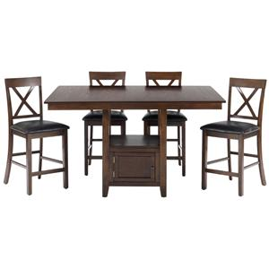 5-Piece Casual Counter Height Pedestal Table & X-Back Stool Set