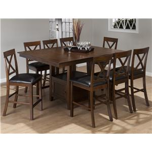 9-Piece Casual Counter Height Pedestal Table & X-Back Stool Set