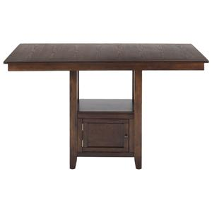 Casual Counter Height Rectangle Table with Storage Pedestal Base
