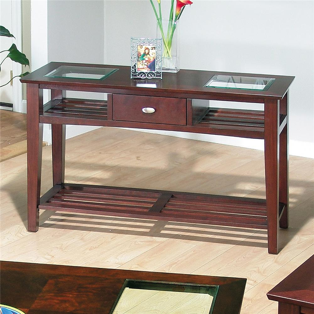 514 Sofa Table with Slatted Shelves by Jofran at Pilgrim Furniture City