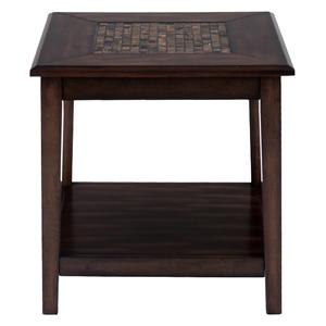 Dark Brown Mosaic Inlay End Table