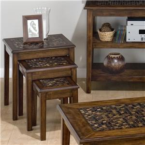 3-Piece Nesting Chairside Table with Mosaic Tile Inlay