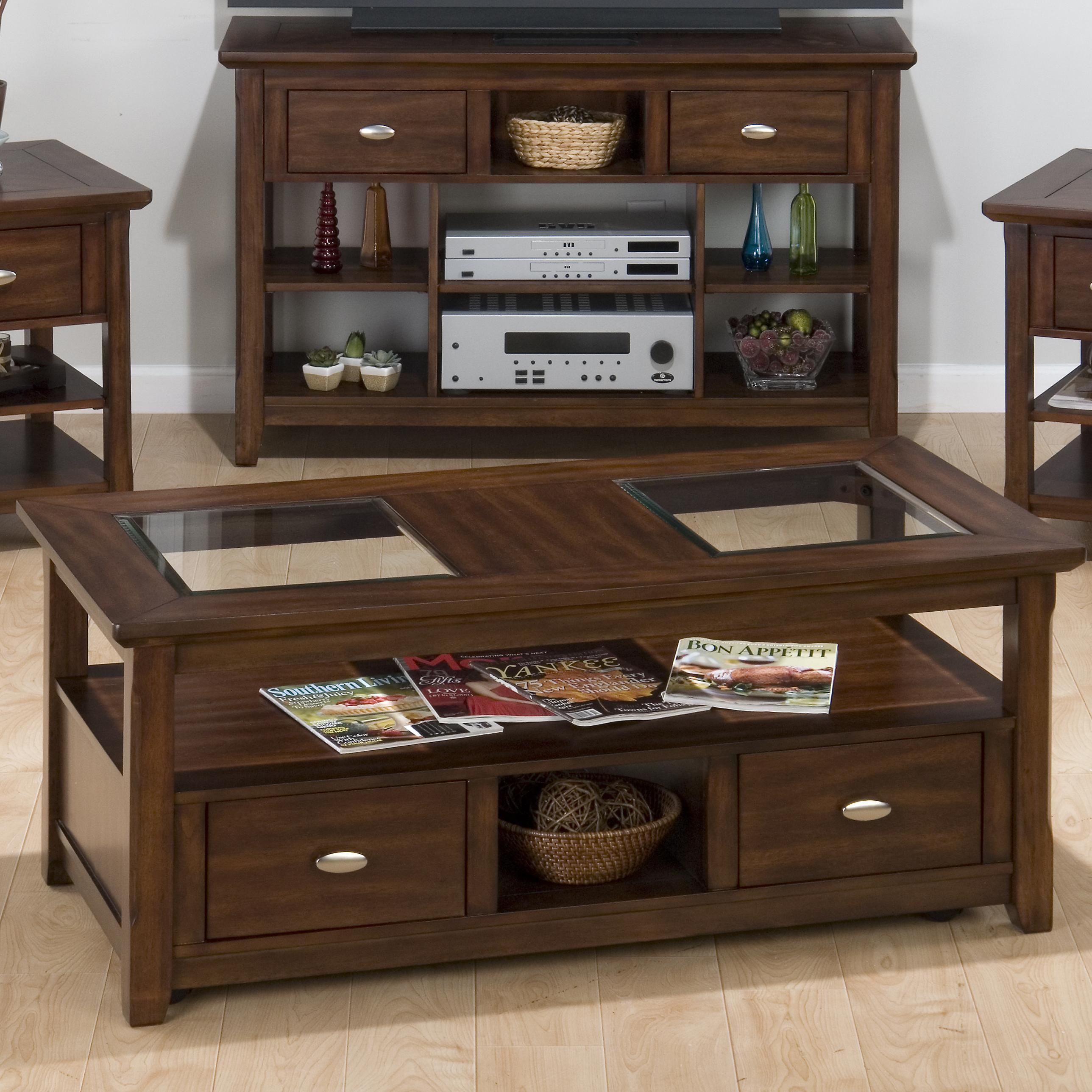 Bellingham Brown Cocktail table w/ 2 Drawers, Shelf & Casters by Jofran at Pilgrim Furniture City