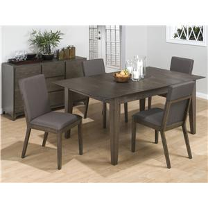 5-Piece Casual Antique Gray Dining Table & Side Chair Set