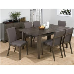 7-Piece Casual Antique Gray Dining Table & Side Chair Set