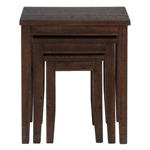 Casual Three Piece Set of Nesting Tables with Tapered Block Legs