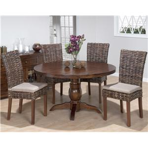 5 Piece Dining Set with Rattan Chairs and Pedestal Table