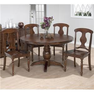5 Piece Dining Set with Napoleon Chairs and Round Pedestal Table