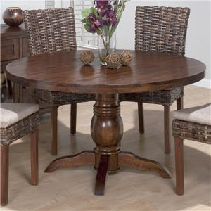 Rustic Hewn Pedestal Table with Turned Pedestal