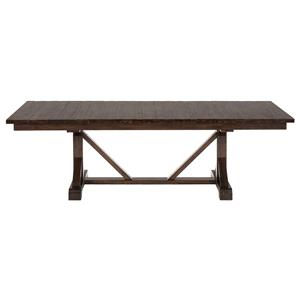 Rustic Hewn Rectangle Trestle Table with Fixed Top