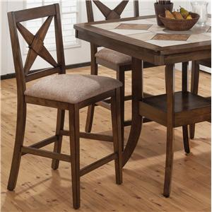 Jofran Tucson Brown  Counter Height X-Back Stool