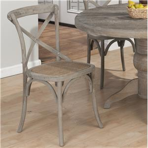 Coastal X Back Side Chair with Full Weave Rattan Seat