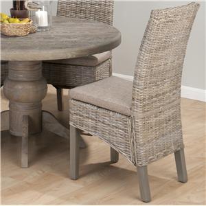 Coastal Kubu Rattan Dining Side Chair with Oatmeal Linen Seat