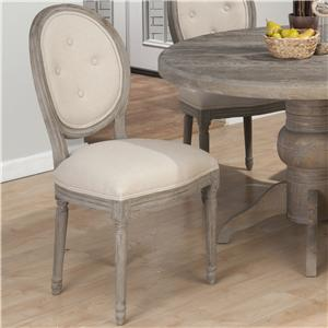 Coastal Upholstered Oval Back Button Tufted Side Chair