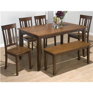 Jofran Kura Espresso and Canyon Gold Rectangle Table Set with 4 Chairs and Bench