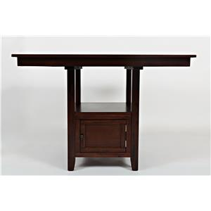 Casual Square Counter Height Table with Pedestal Storage