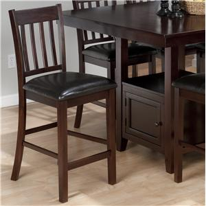 Casual 4-Slat Back Bar Stool with Faux Leather Seat Cushion