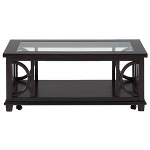 Contemporary Coffee Table with Beveled Glass Top and Casters