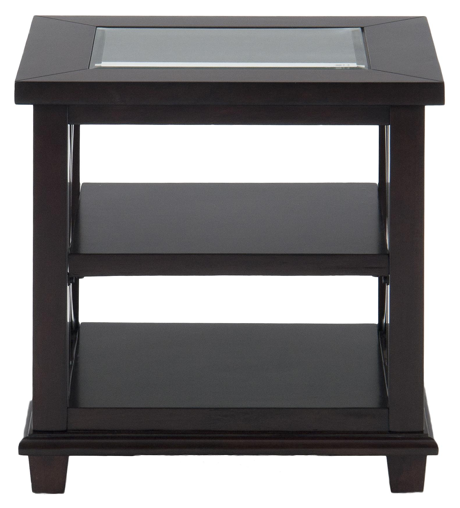 Panama Brown End Table w/ Glass Top by Jofran at Dream Home Interiors