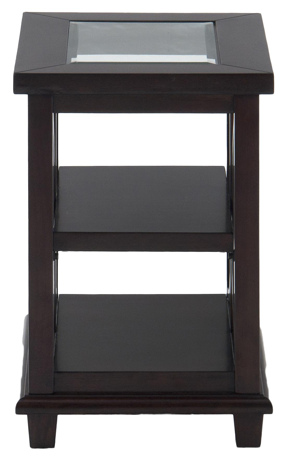 Panama Brown Chairside Table w/ Glass Top by Jofran at Godby Home Furnishings